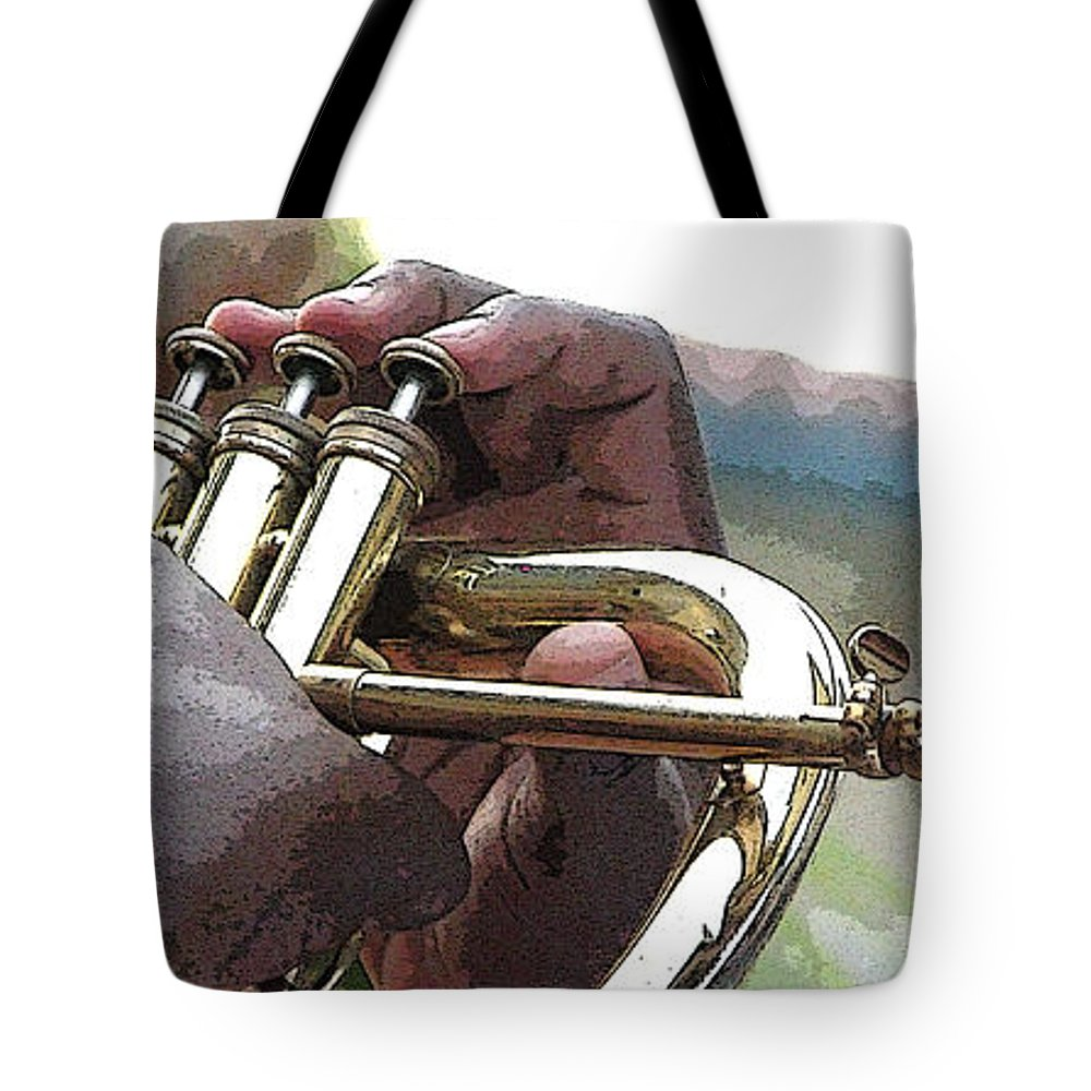 Horn Tote Bag featuring the photograph Horn Player 0072 by Jerry Sodorff