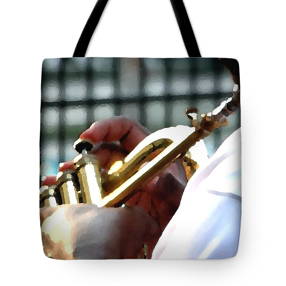 Horn Tote Bag featuring the photograph Horn Player Pk 0071 by Jerry Sodorff