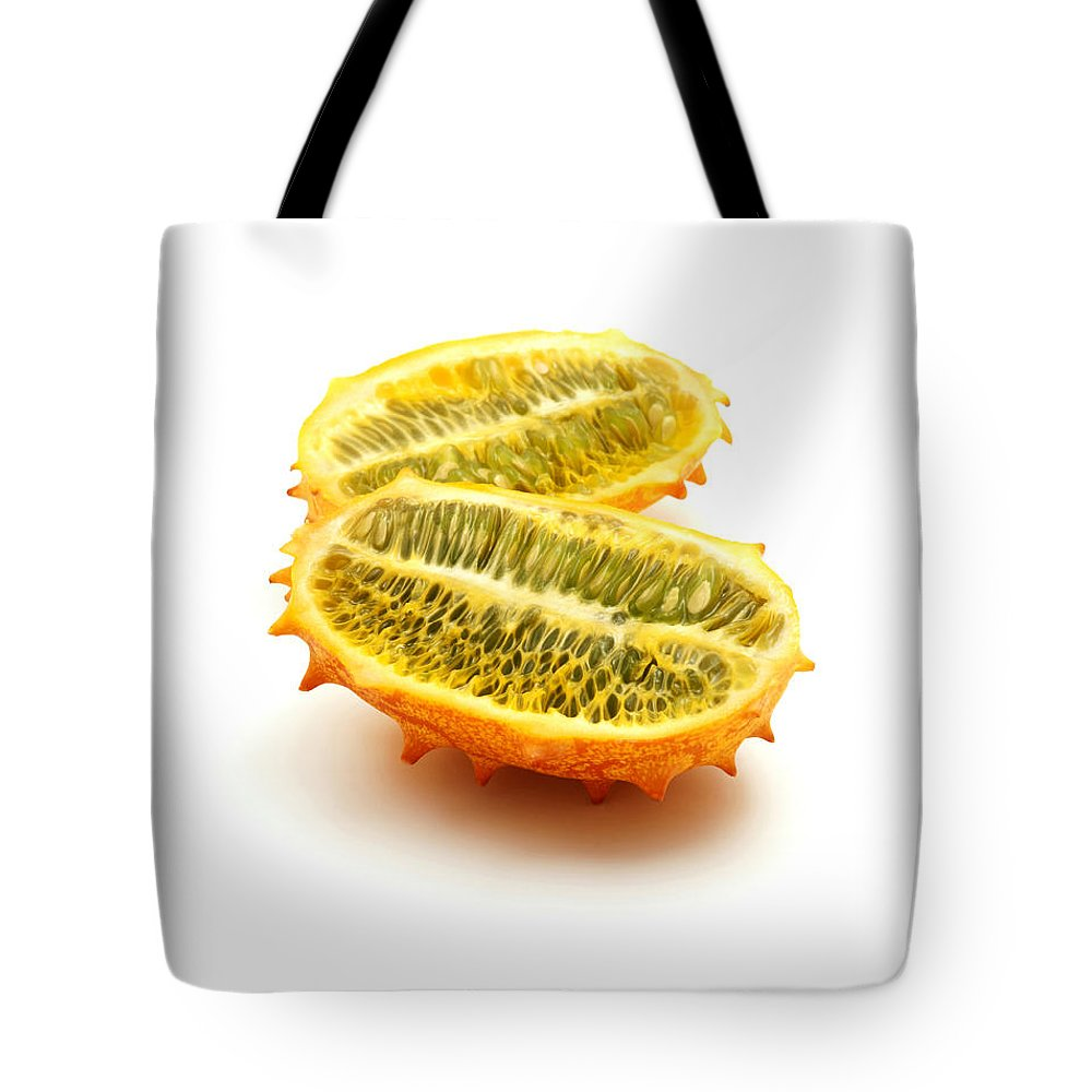 White Background Tote Bag featuring the photograph Horned Melon by Fabrizio Troiani