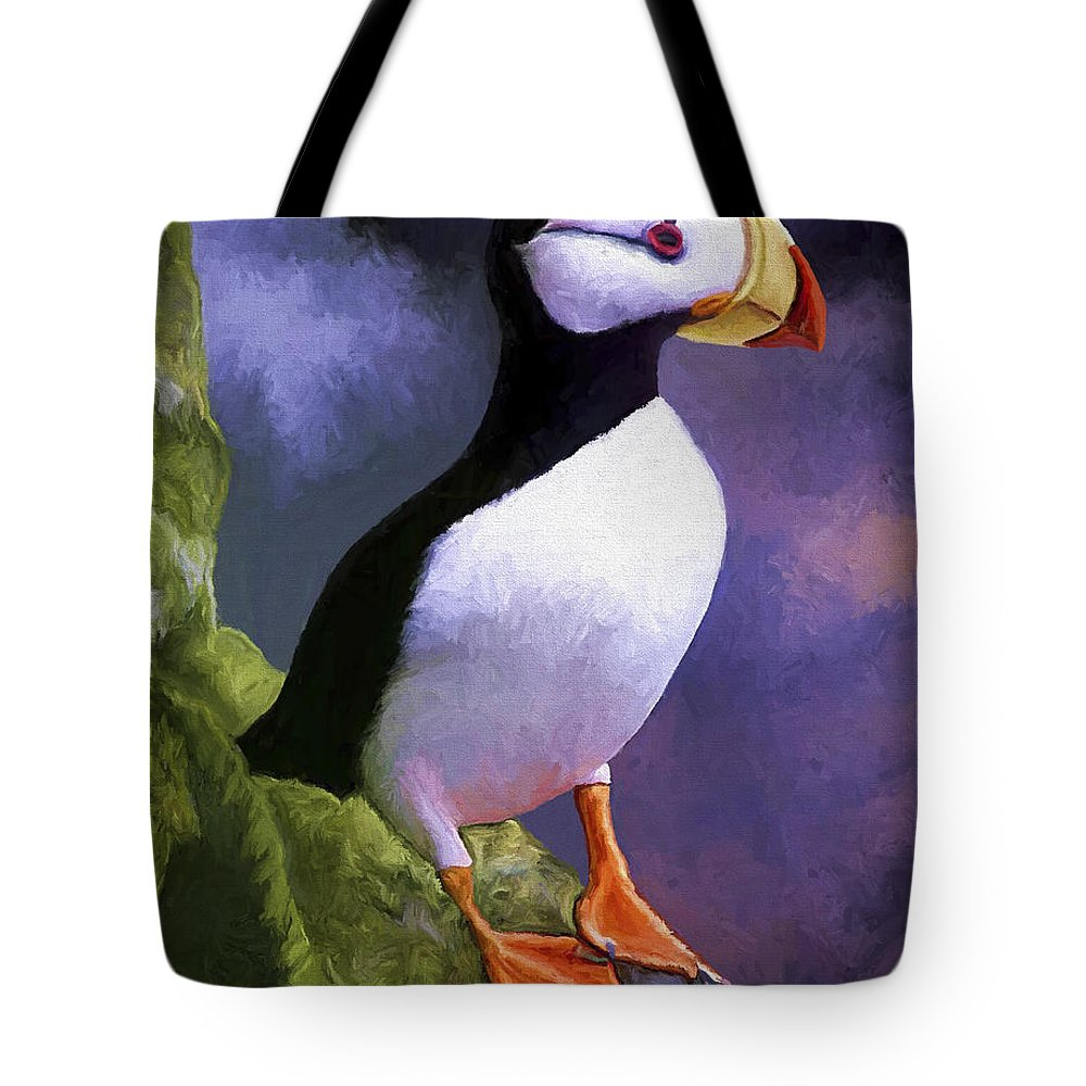 Animal Tote Bag featuring the painting Horned Puffin by David Wagner
