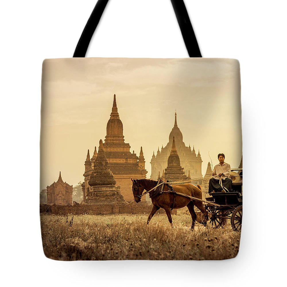 Horse Tote Bag featuring the photograph Horse And Carriage Turning By Temples by Merten Snijders