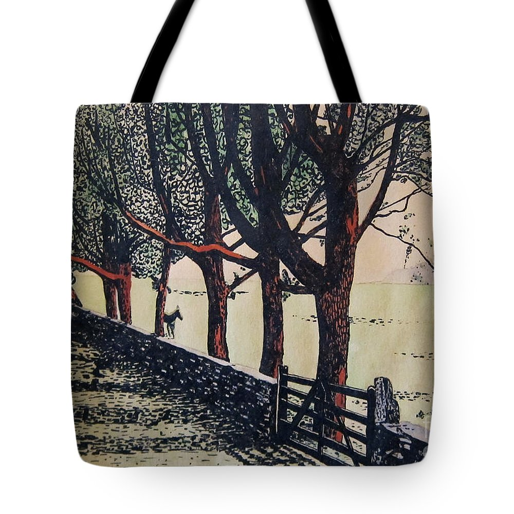Canvas Prints Tote Bag featuring the mixed media Horse And Fence by Joseph Juvenal