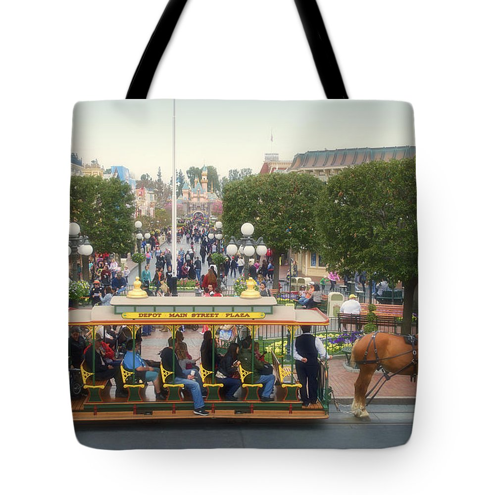 Disney Tote Bag featuring the photograph Horse And Trolley Main Street Disneyland 02 by Thomas Woolworth