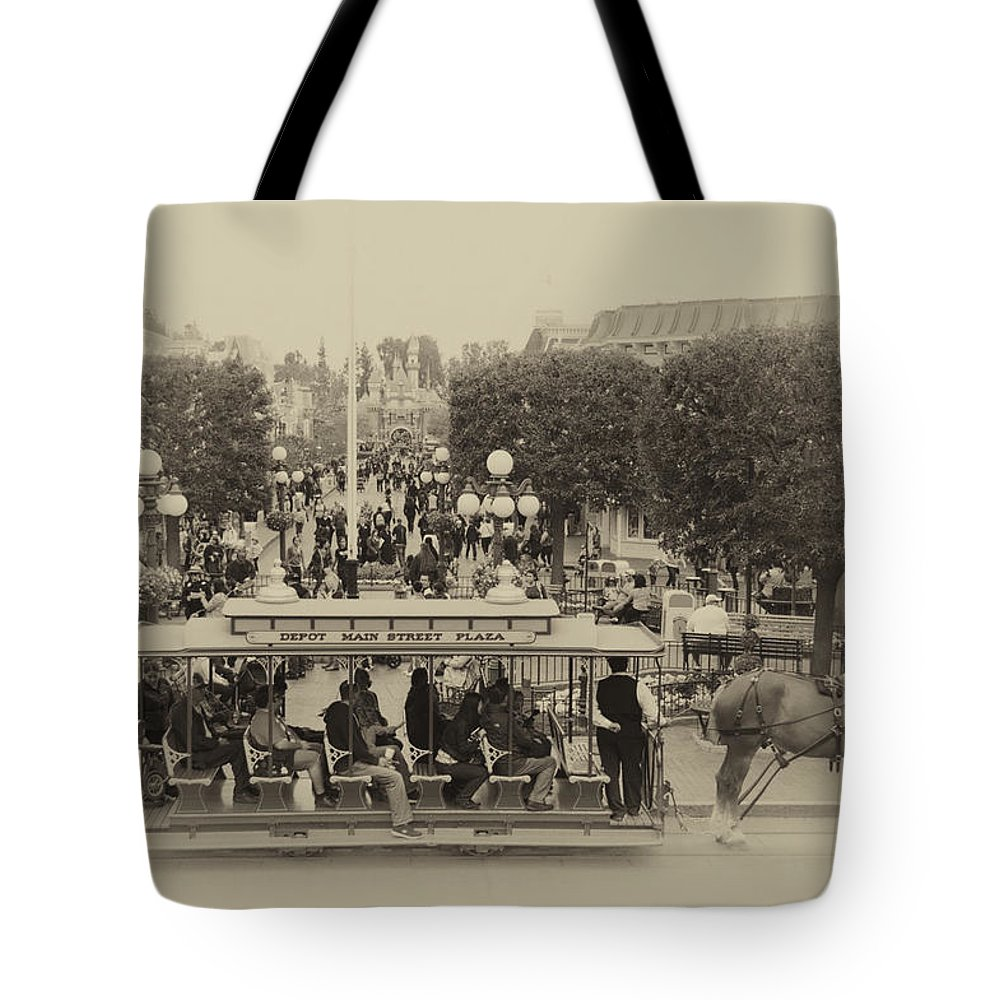 Disney Tote Bag featuring the photograph Horse And Trolley Main Street Disneyland Heirloom by Thomas Woolworth