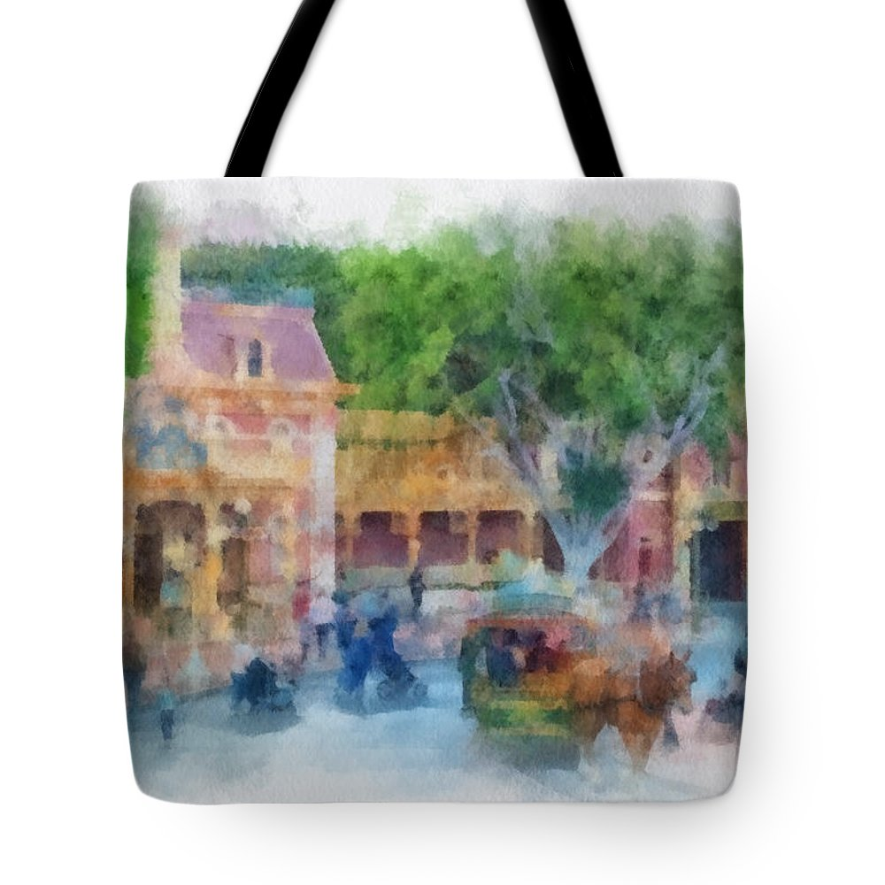 Disney Tote Bag featuring the photograph Horse And Trolley Turning Main Street Disneyland Photo Art 01 by Thomas Woolworth