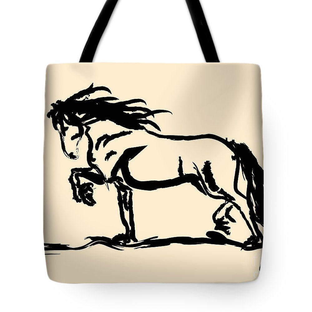 Frisian Tote Bag featuring the painting Horse - Blacky by Go Van Kampen
