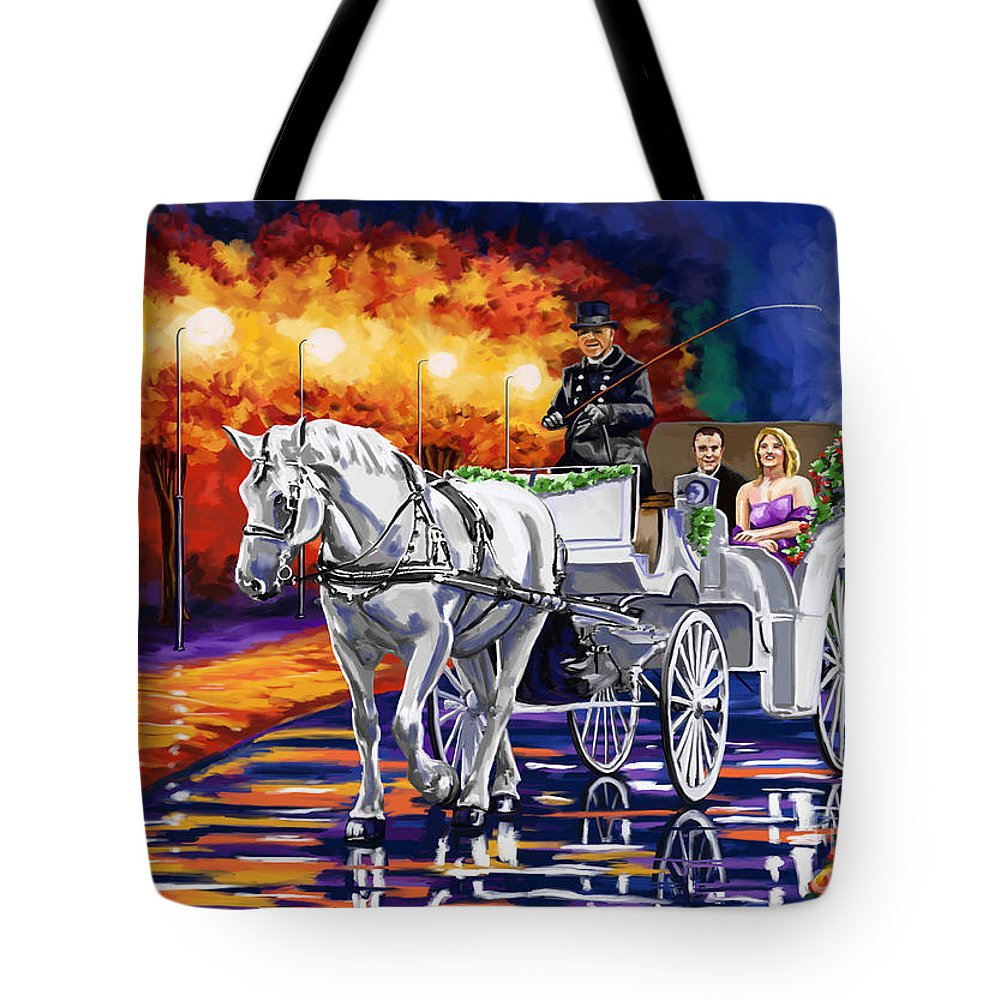 Horse Drawn Carriage Tote Bag featuring the painting Horse Drawn Carriage Night by Tim Gilliland