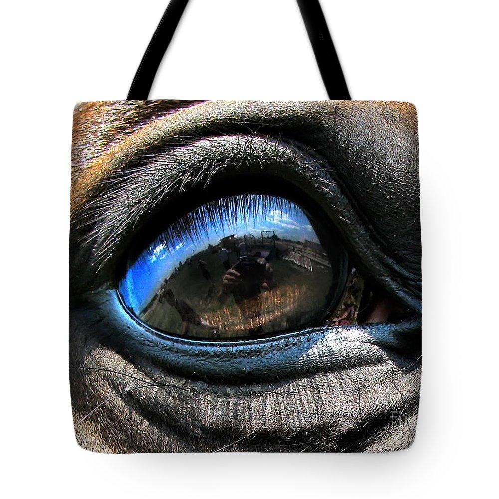 Eye Tote Bag featuring the photograph Horse Eye by Daliana Pacuraru