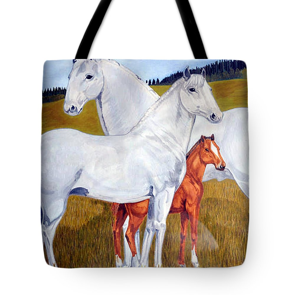 Horse Tote Bag featuring the painting Horse Family by Teresa Peterson