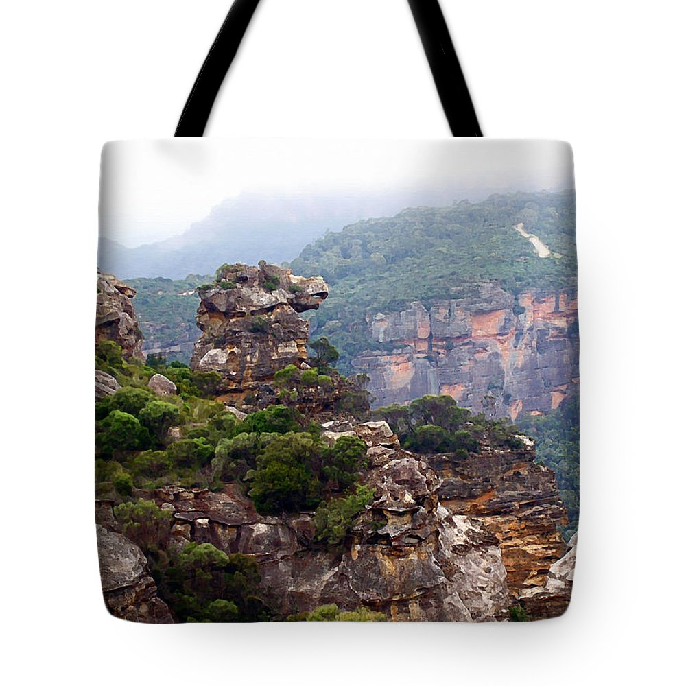 Horse Head Rock Tote Bag featuring the painting Horse Head Rock by Ellen Henneke