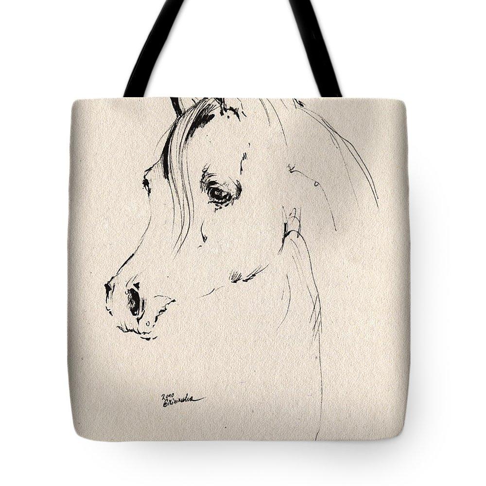 Horse Tote Bag featuring the drawing Horse Head Sketch by Angel Ciesniarska