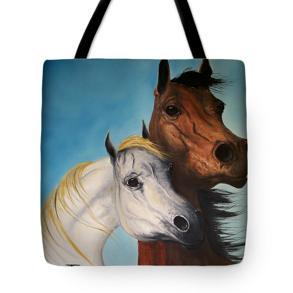 Horse Tote Bag featuring the painting Horse Lovers by Patrick Trotter
