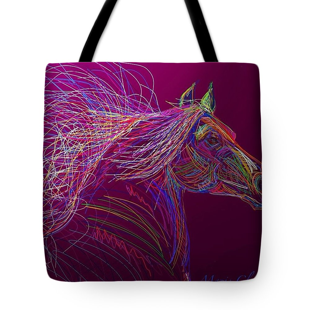 Horse Tote Bag featuring the painting Horse Of Fire by Marie Clark