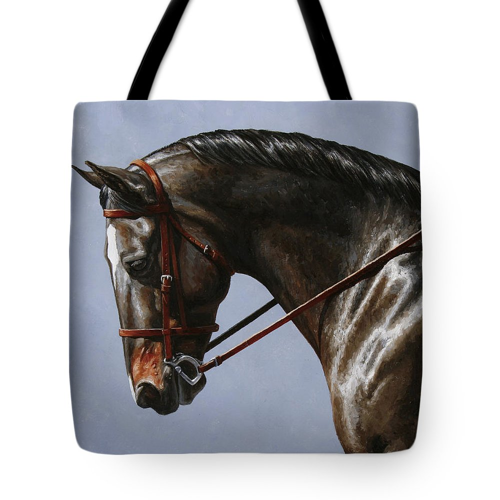 Horse Tote Bag featuring the painting Horse Painting - Discipline by Crista Forest