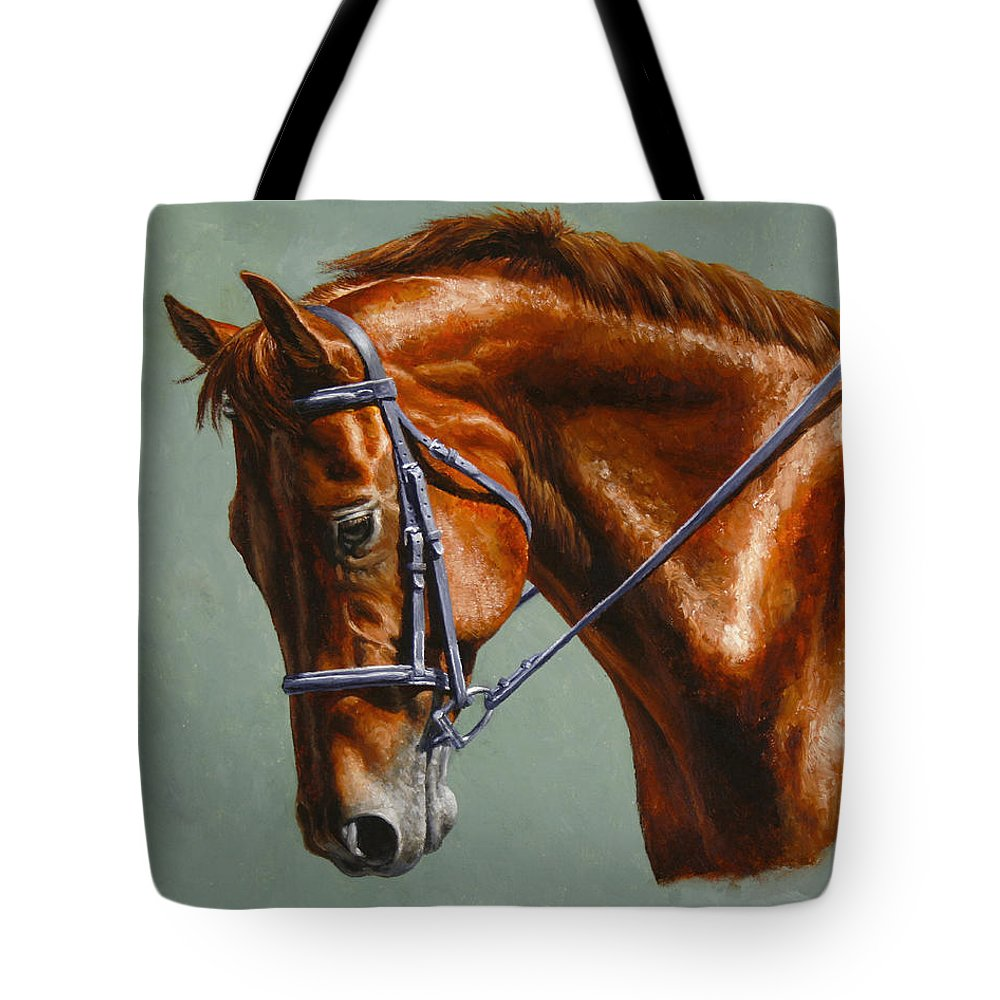 Horse Tote Bag featuring the painting Horse Painting - Focus by Crista Forest