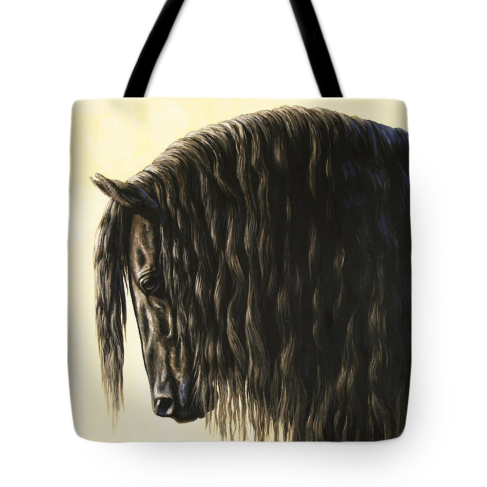Horse Tote Bag featuring the painting Horse Painting - Friesland Nobility by Crista Forest