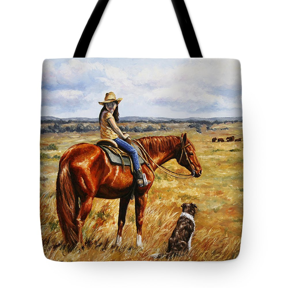 Western Tote Bag featuring the painting Horse Painting - Waiting For Dad by Crista Forest
