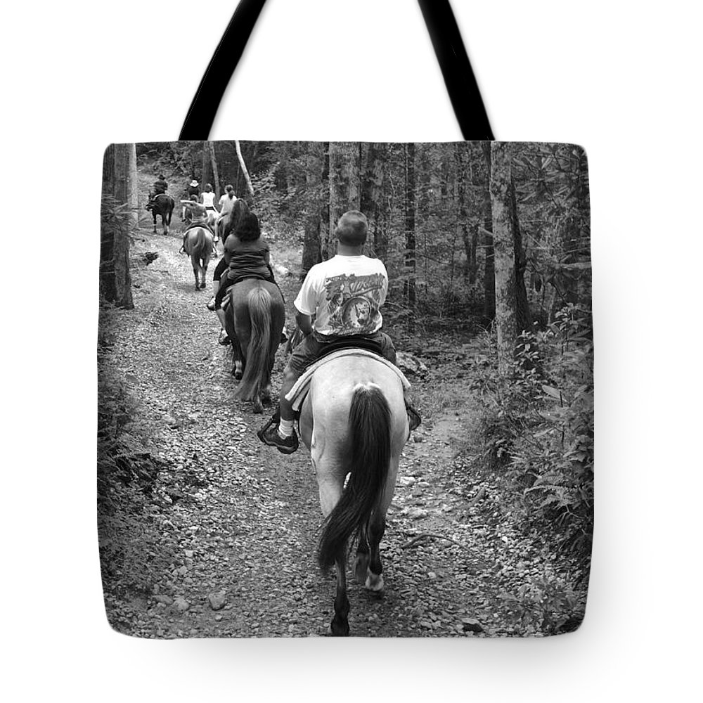 Horse Tote Bag featuring the photograph Horse Trail by Frozen in Time Fine Art Photography