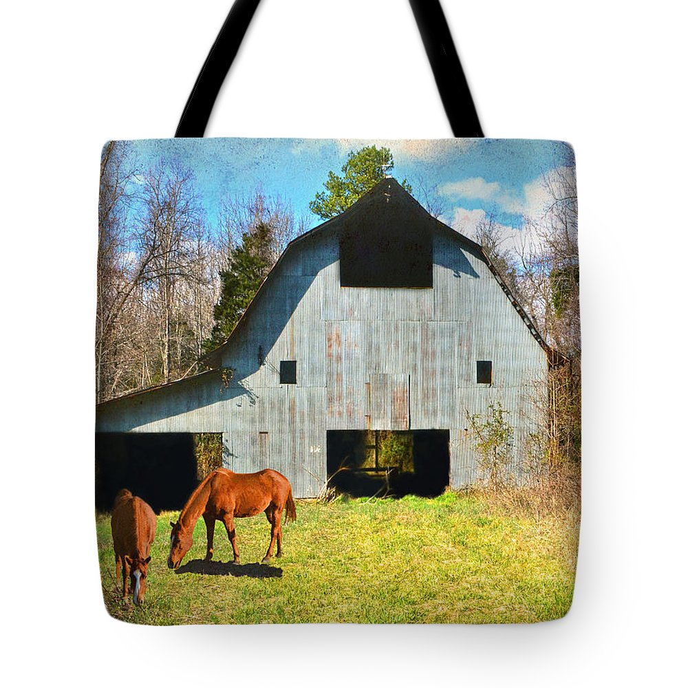 Barn Tote Bag featuring the photograph Horses Call This Old Barn Home by Sandi OReilly