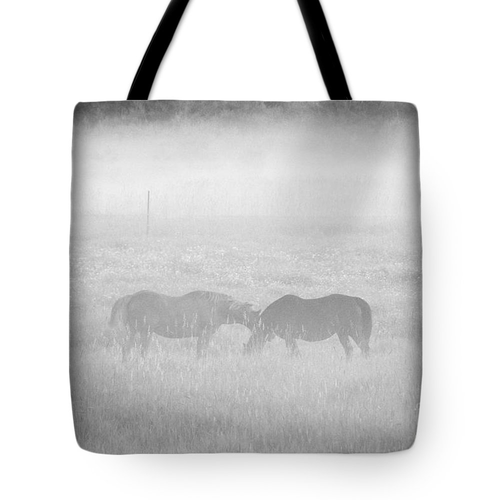 Landscape Tote Bag featuring the photograph Horses In The Fog by Cheryl Baxter