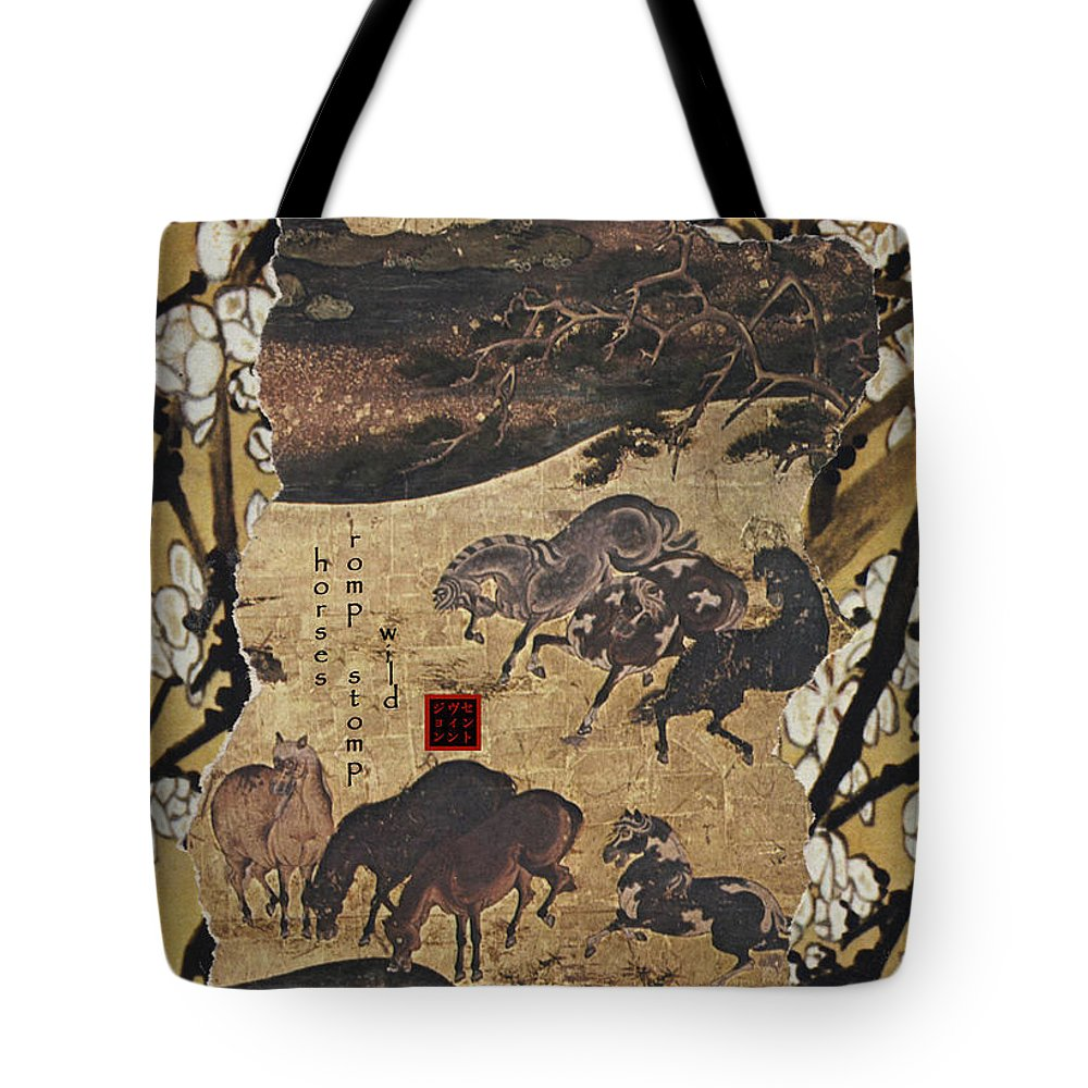 Collage Tote Bag featuring the digital art Horses by John Vincent Palozzi