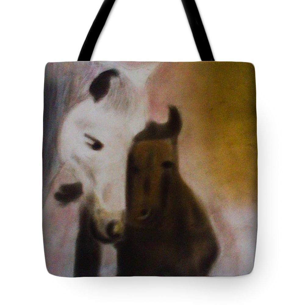 Horse Tote Bag featuring the pastel Horses by Sumisha Chandan