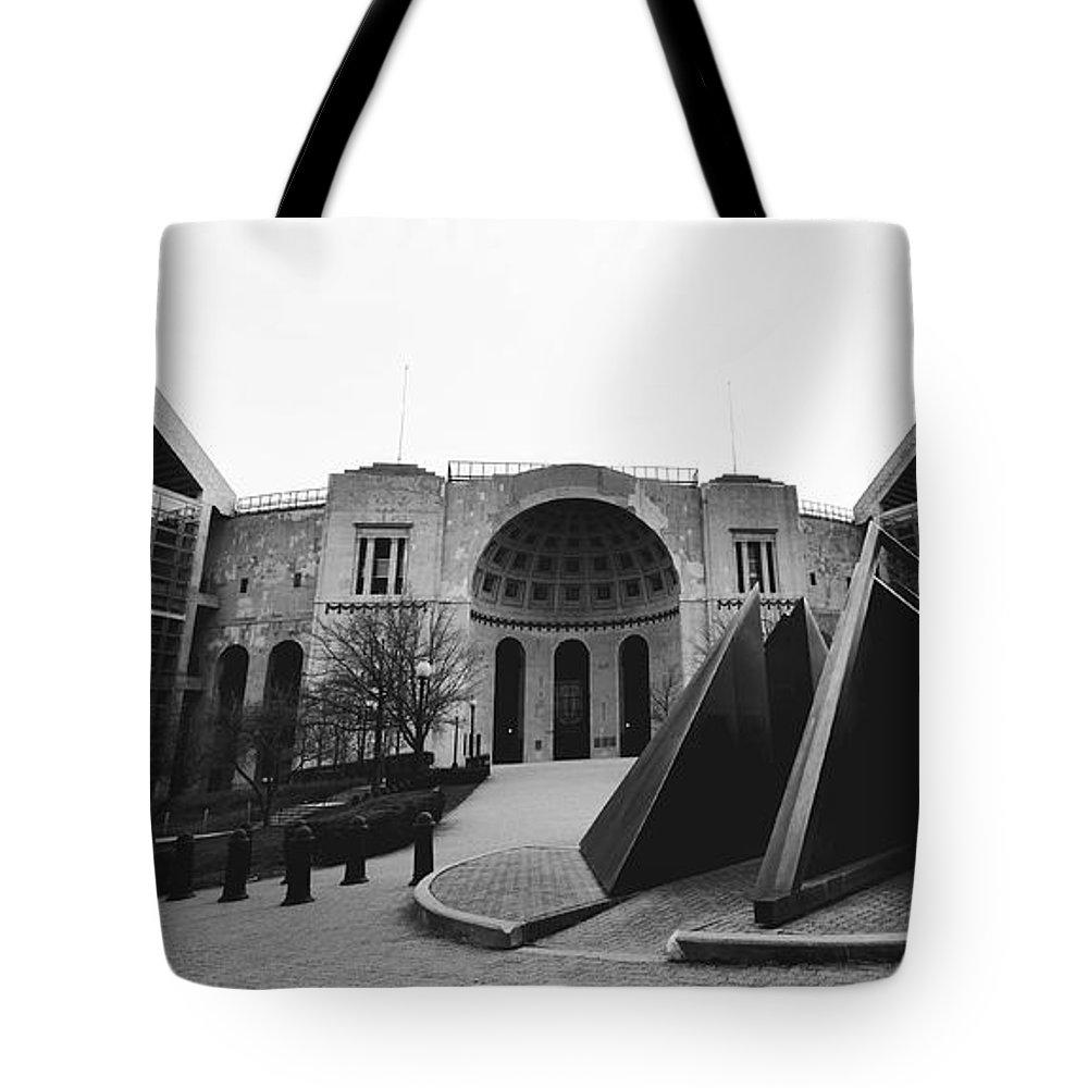 Ohio State Tote Bag featuring the photograph Horseshoe Stadium by Rachel Barrett
