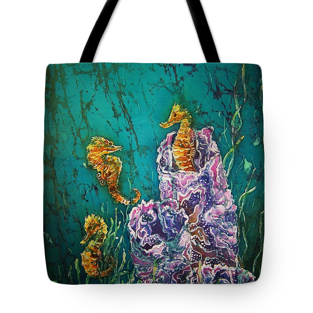 Seahorses Tote Bag featuring the tapestry - textile Horsin Around by Sue Duda