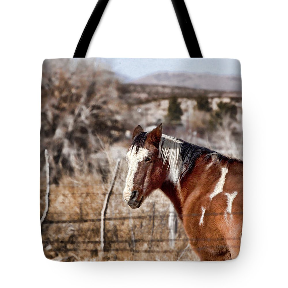 Horse Tote Bag featuring the photograph Horsing About V3 by Douglas Barnard