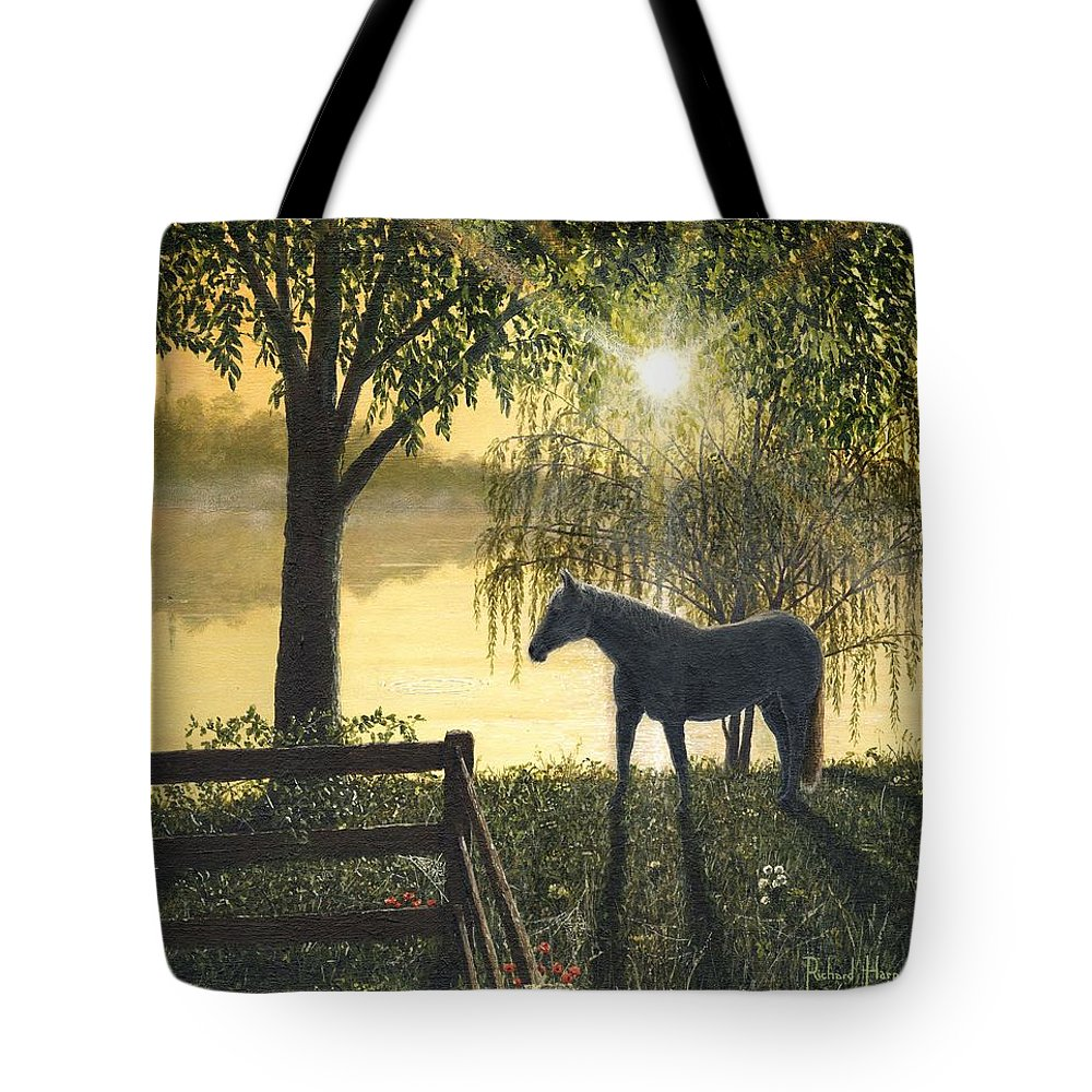 Hoss Tote Bag featuring the painting Hoss by Richard Harpum