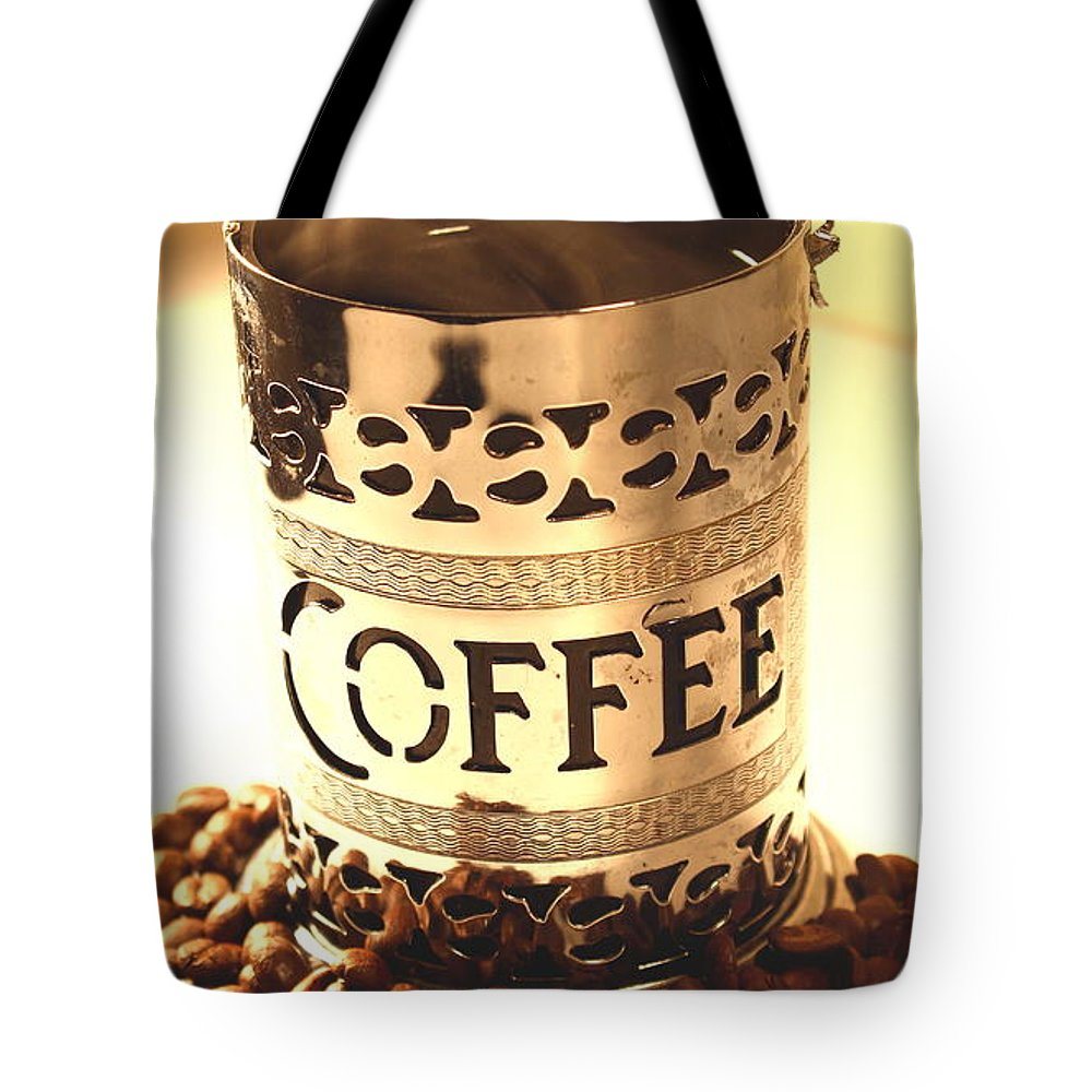 Food And Beverage Tote Bag featuring the photograph Hot Coffee by Tom Snow