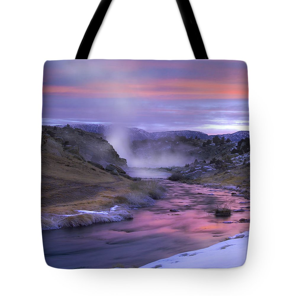 Blurred Motion Tote Bag featuring the photograph Hot Creek At Sunset Sierra Nevada by Tim Fitzharris