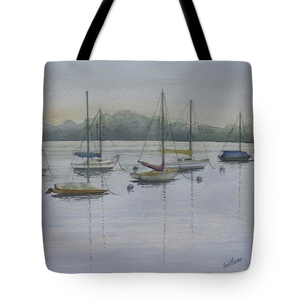 Sailboats Tote Bag featuring the painting Hot Morning Matoska Park by Heidi E Nelson