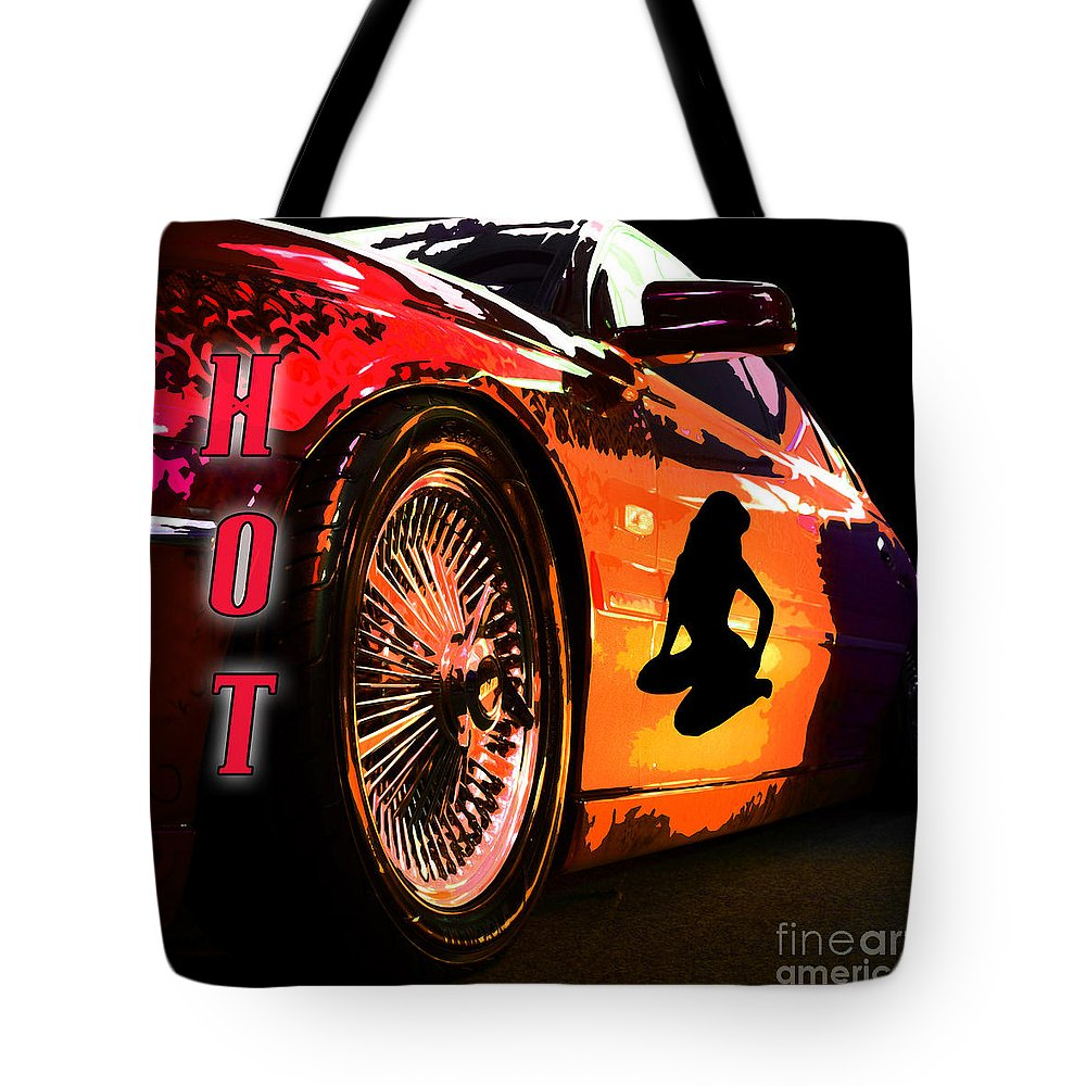 Ford Tote Bag featuring the photograph Hot Red Car by Phill Petrovic