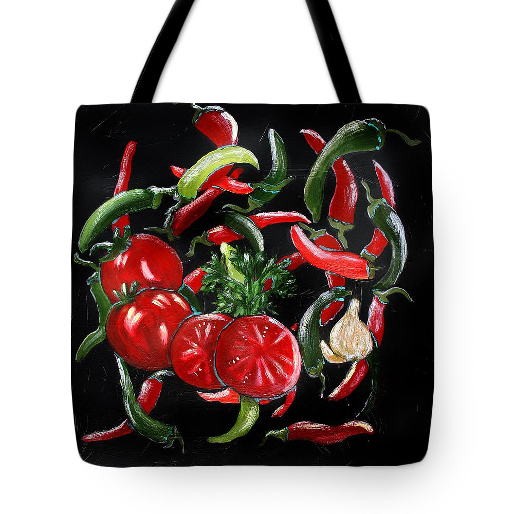 Black Tote Bag featuring the painting Hot Salsa by Maura Satchell