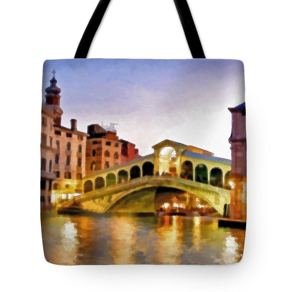 Watercolor Tote Bag featuring the mixed media Hot Venetian Nights by Georgiana Romanovna