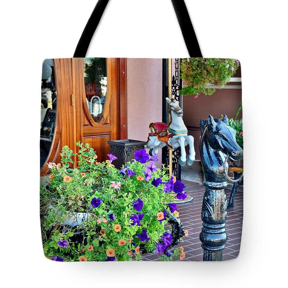 Entrance Tote Bag featuring the photograph Boardwalk Plaza Entrance - Rehoboth Beach Delaware by Kim Bemis