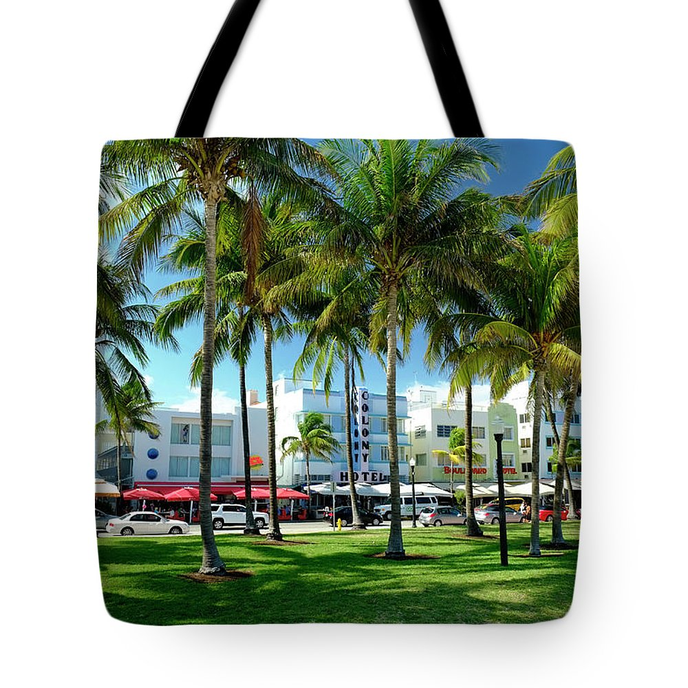 Hotel Tote Bag featuring the photograph Hotels At Ocean Drive, South Beach by Travelpix Ltd