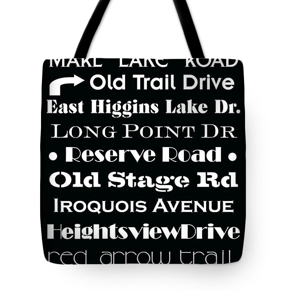 Houghton Lake Michigan Tote Bag featuring the painting Houghton Higgins Subway Sign by Desiree Paquette