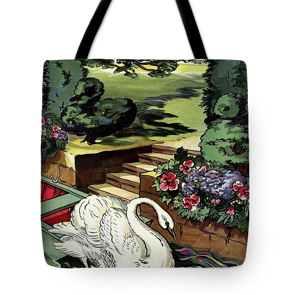 House & Garden Tote Bag featuring the photograph House & Garden Cover Illustration Of A Swan by Joseph B. Platt