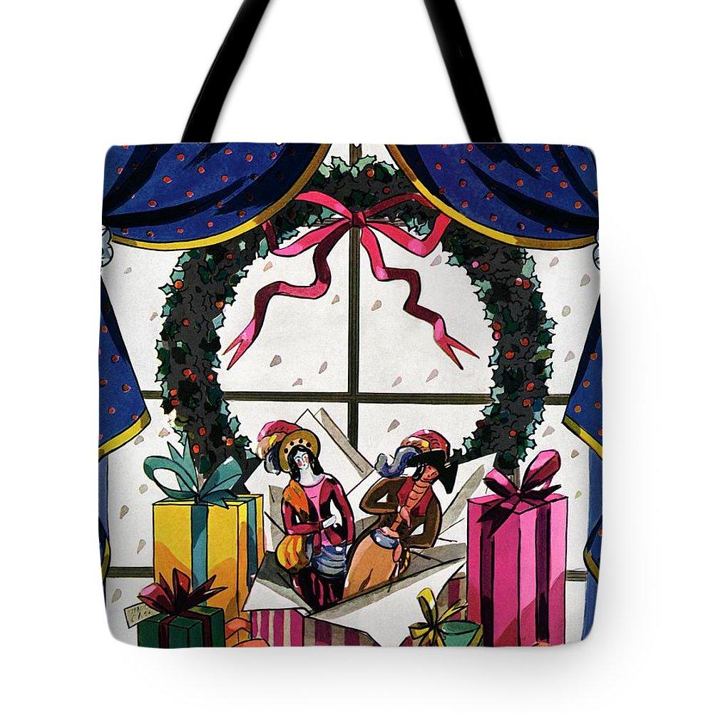 House & Garden Tote Bag featuring the photograph House & Garden Cover Illustration Of Christmas by Joseph B. Platt