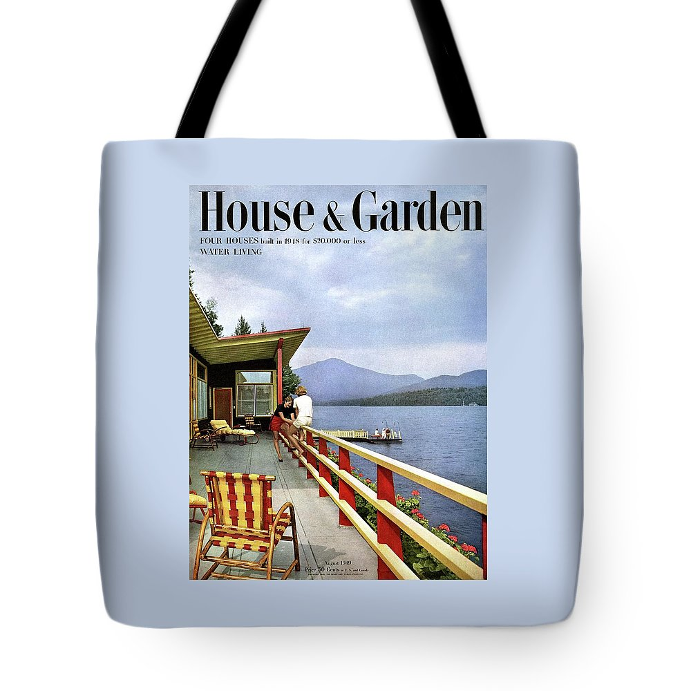 House & Garden Tote Bag featuring the photograph House & Garden Cover Of Women Sitting On The Deck by Robert M. Damora