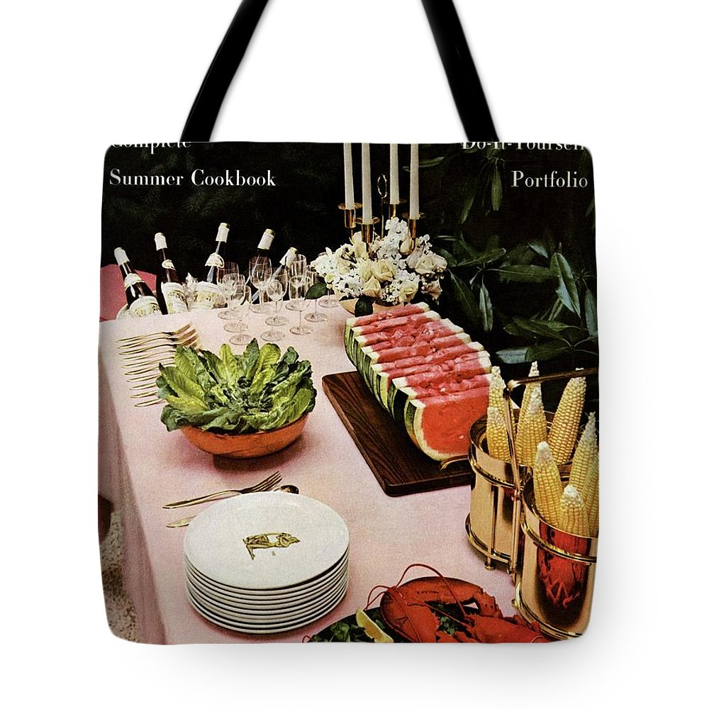 House And Garden Tote Bag featuring the photograph House And Garden Cover Featuring A Buffet Table by Wiliam Grigsby