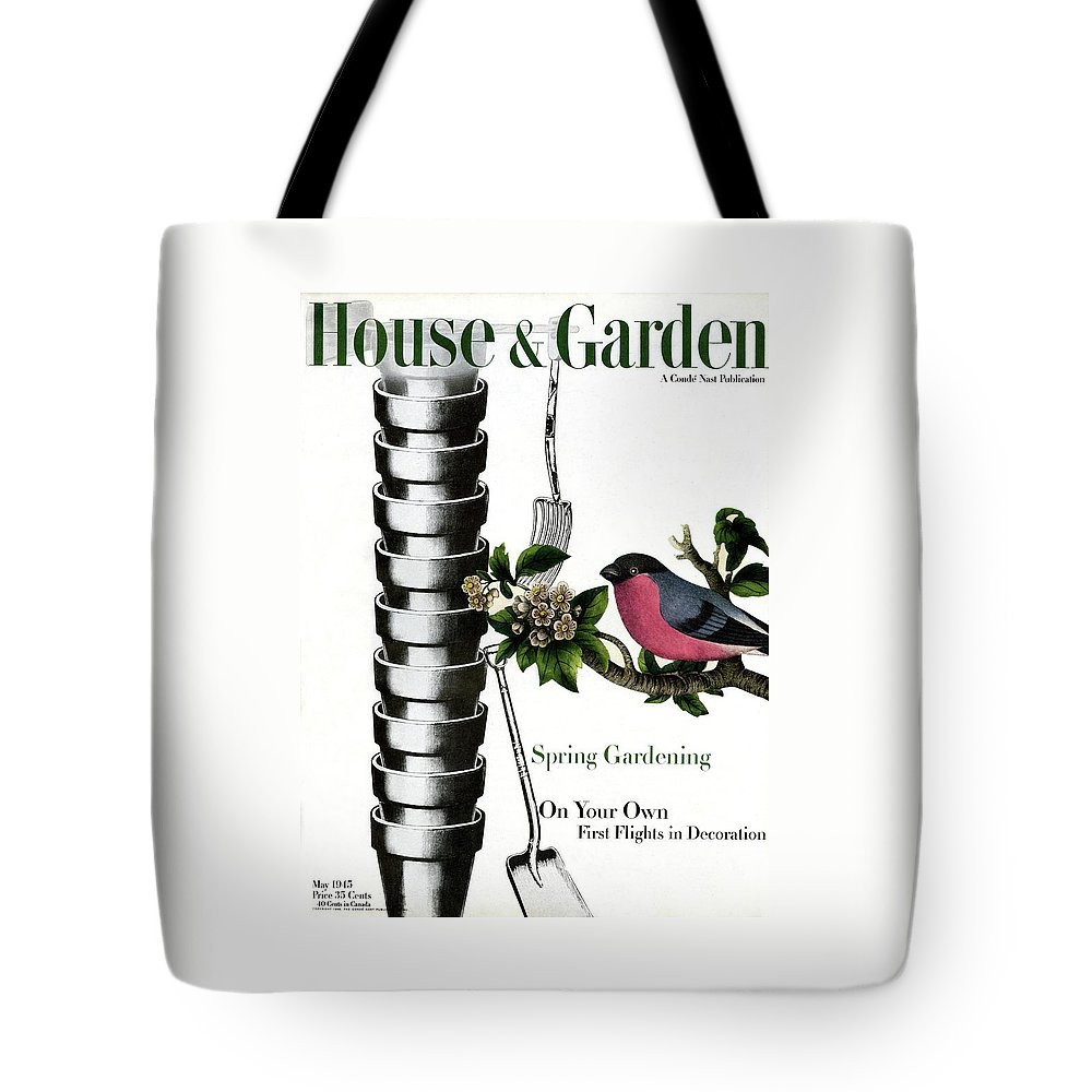 House And Garden Tote Bag featuring the photograph House And Garden Cover Featuring Pots And A Bird by Joseph Cornell