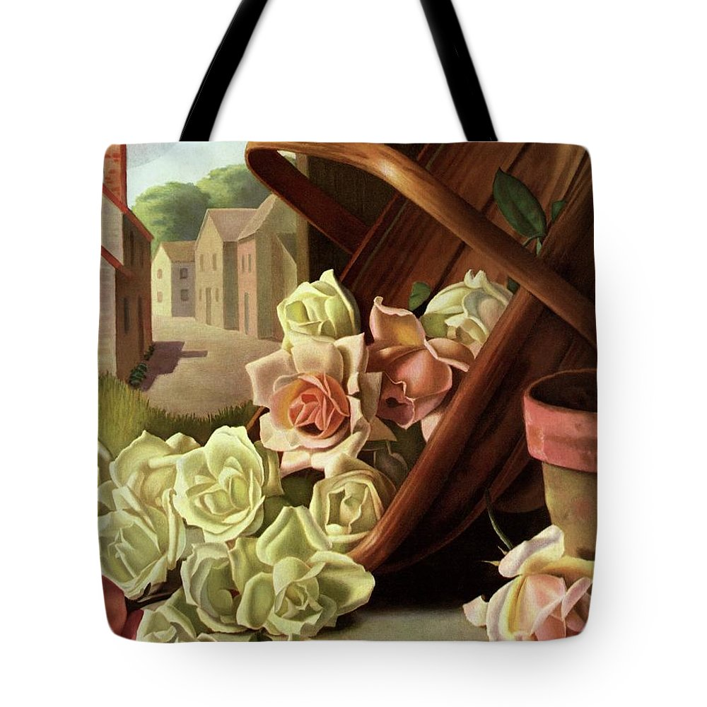House And Garden Tote Bag featuring the photograph House And Garden Cover Of An Upturned Basket by John C. E. Taylor