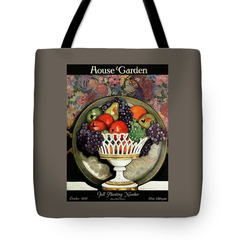 House And Garden Tote Bag featuring the photograph House And Garden Fall Planting Number Cover by Ethel Franklin Betts Baines