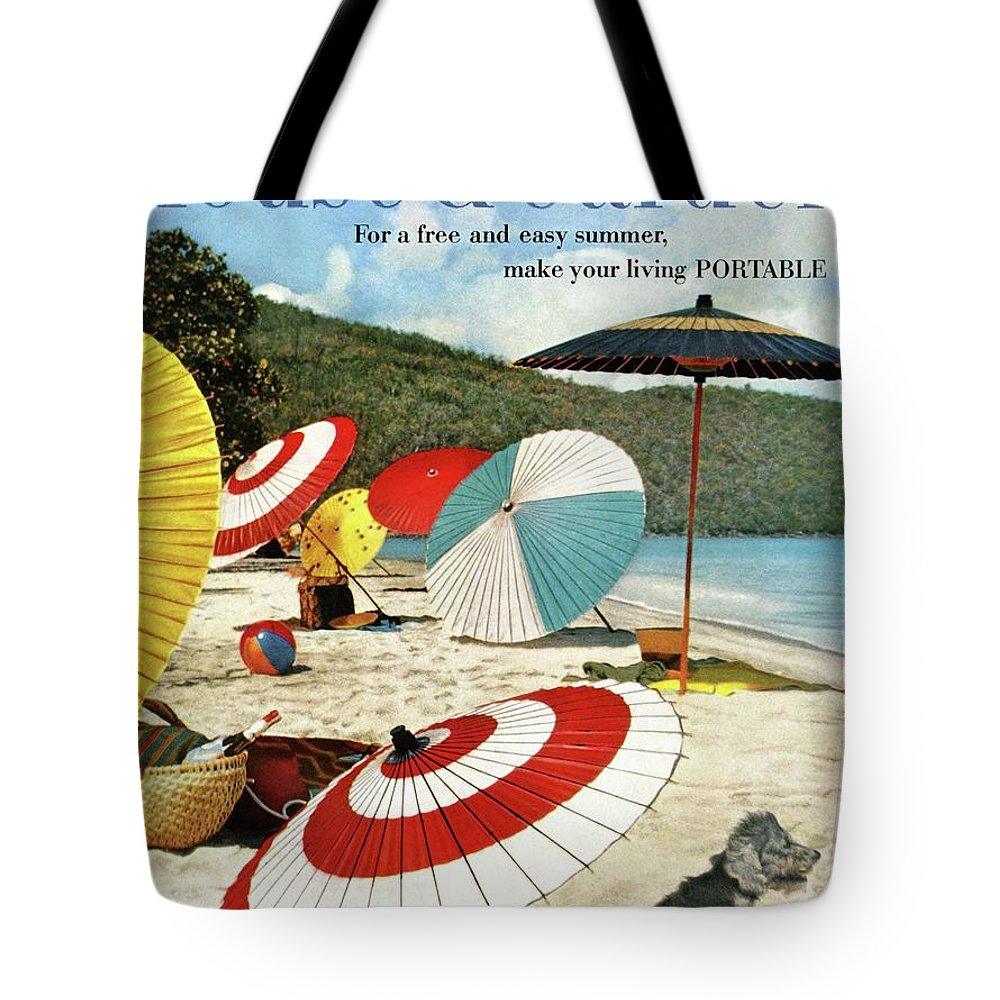 Exterior Tote Bag featuring the photograph House And Garden Featuring Umbrellas On A Beach by Otto Maya & Jess Brown