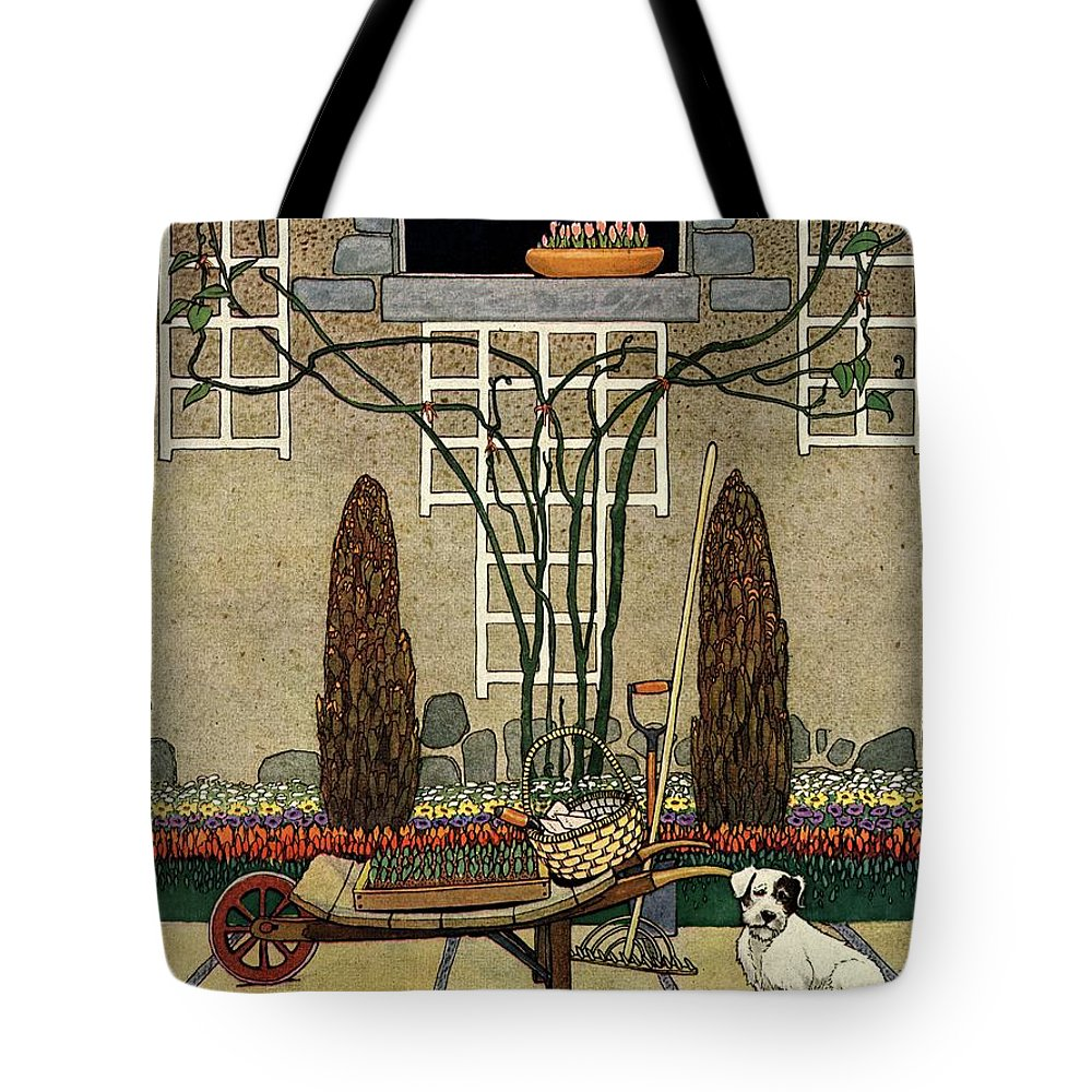 House And Garden Tote Bag featuring the photograph House And Garden Garden Furnishing Number Cover by Charles Livingston Bull