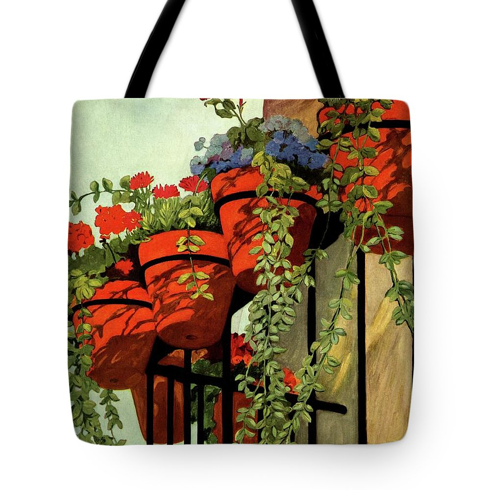 House And Garden Tote Bag featuring the photograph House And Garden Garden Furnishing Number Cover by Ethel Franklin Betts Baines