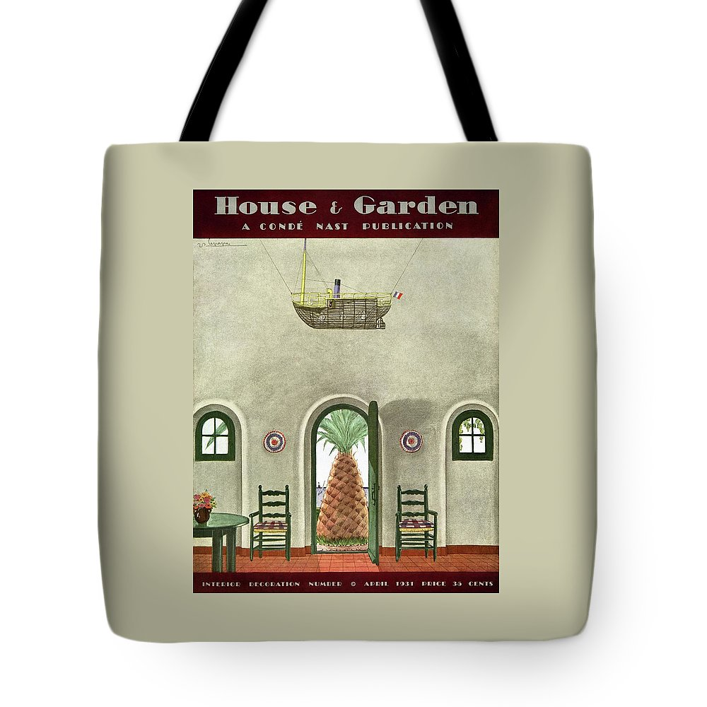 House And Garden Tote Bag featuring the photograph House And Garden Interior Decoration Number Cover by Georges Lepape